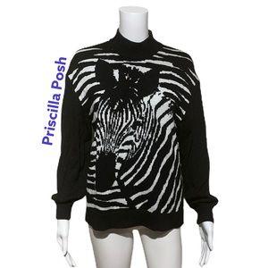 St. John Black and White Zebra Turtleneck Sweater